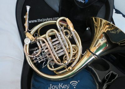 a Dieter Otto triple fitted with fourteen JoyKeys positioned upright in a Cardo case with the JoyKey logo