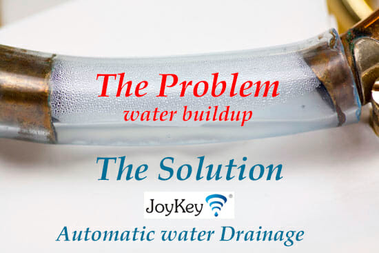 the problem water buildup lying in the lead ppipe the solution automatic water drainage using the 21st century spit valve the JoyKey
